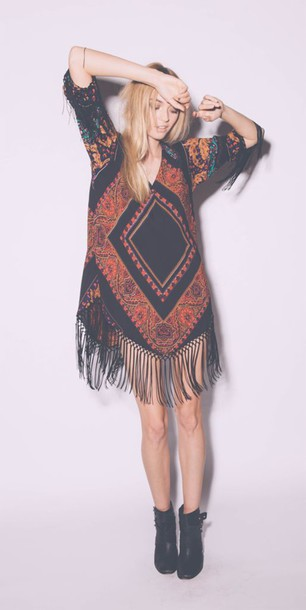 boho fringes gypsy dress gypsy boho dress boho shirt boho chic boho style cute tribal pattern girly black fringes dress fashion bohemian hippie summer dress fringed dress