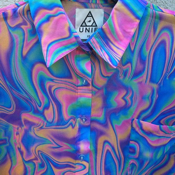 colorful shirt unif collared shirts t-shirt trippy psychedelic jacket psychedelic button up tumblr