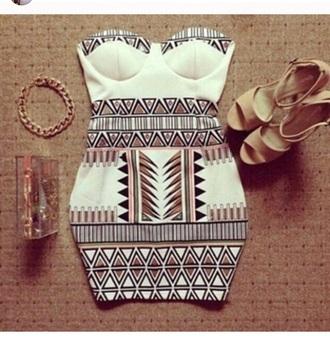 dress short dress print dres cocktail dress trendy tribal pattern
