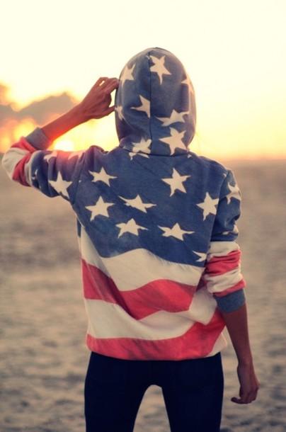 Sweater Hoodie American Flag Usa July 4th Jumper
