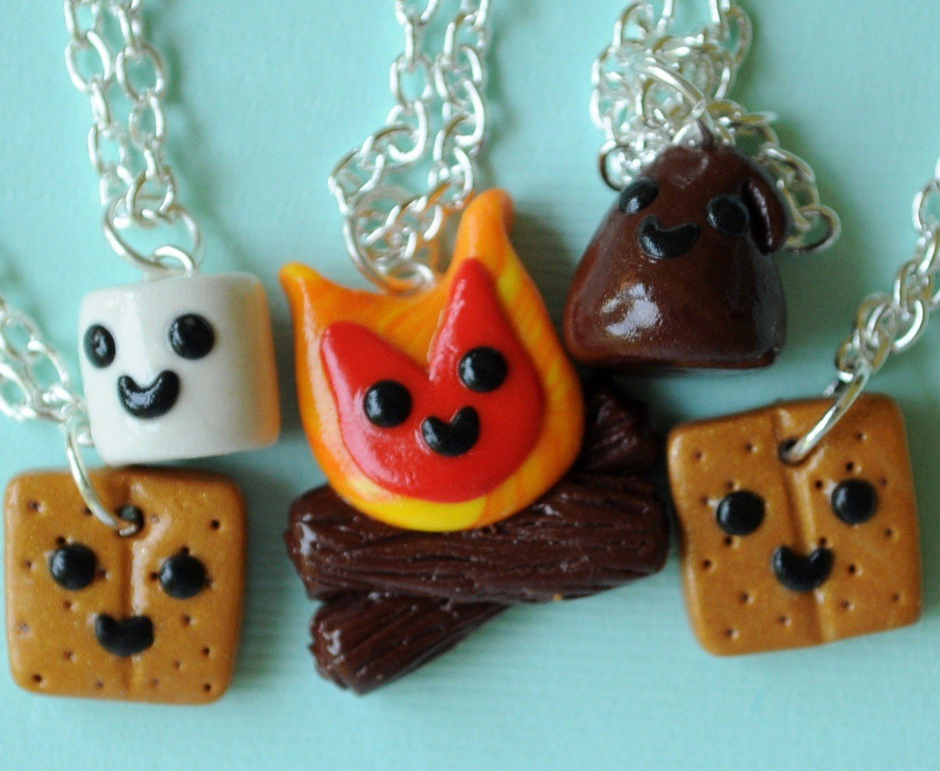 Amazon.com: Handmade S'Mores and Campfire Five-Way Best Friend Necklaces