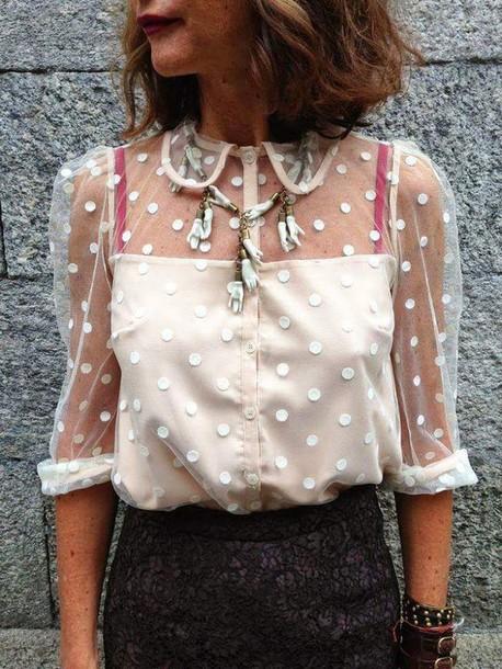 blouse lace top white polka dot sheer long sleeve e