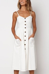 dress,white,buttons
