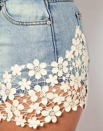 shorts demin demin shorts jeans floral flowers