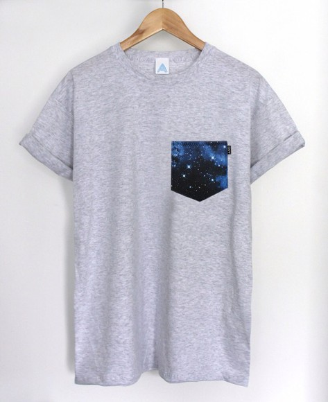 grey adorable t-shirt galaxy print pocket menswear pocket t shirt