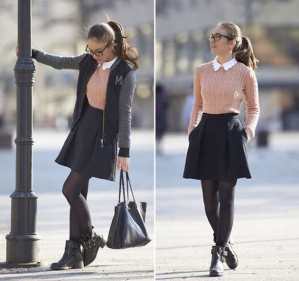 skirt black bag shirt blouse pink white shoes