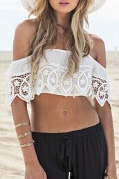 top,white,off the shoulder,trendy,lace,summer,zaful,crop tops
