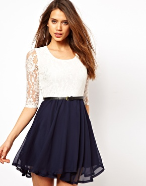 Paprika | Paprika Lace Belted Skater Dress at ASOS