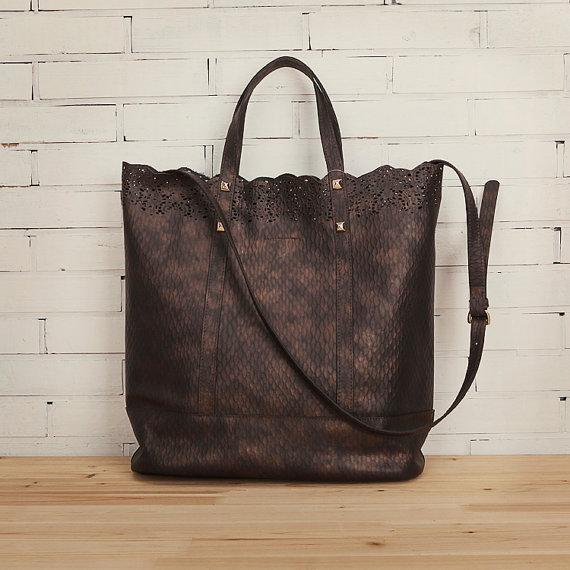 leather tote bag shoulder bag women tote bag message by candyruan. Black Bedroom Furniture Sets. Home Design Ideas