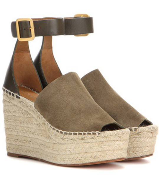 Chloe espadrilles leather suede green shoes