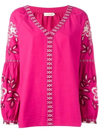 tunic embroidered women cotton purple pink top