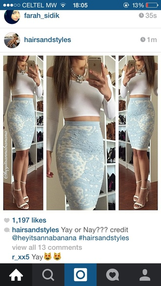 skirt printed skirt tight skirt blue skirt crop tops cute skirt velvet skirt white top blue and white outfit cute