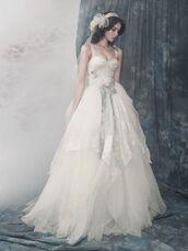 dress,wedding dress,wedding,bustier dress,bustier wedding dress,white dress,unique style,corset,long dress,headband,veil,wedding hairstyles,wedding accessories