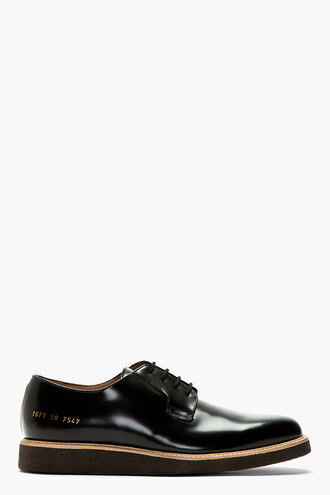 shoes derbies leather black shine menswear casual shoes crepe sole