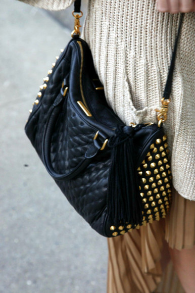 gold details classic bag studs fashion black clutch black bag clinchers