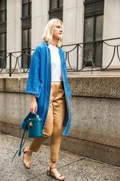 le fashion image,blogger,coat,shoes,denim jacket,white top,silk,sandals,high waisted,blue bag,blue long coat