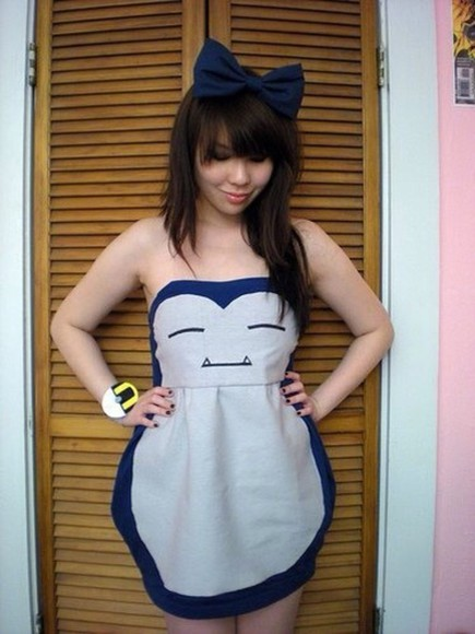 pokemon cute pikachu dress snorlax strapless short cosplay teal blue beige sleepy trainer ash misty brock girly fan custom skirt cupcake teacup
