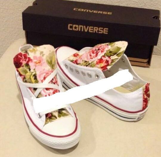 Converse Customized White Low Basse Flowers Fiori Roses Rose Pink Violet Retro