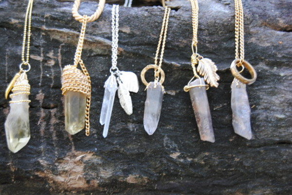 jewels crystal necklace gemstone raw stone rock necklace necklace fashion tumblr boho lookbook