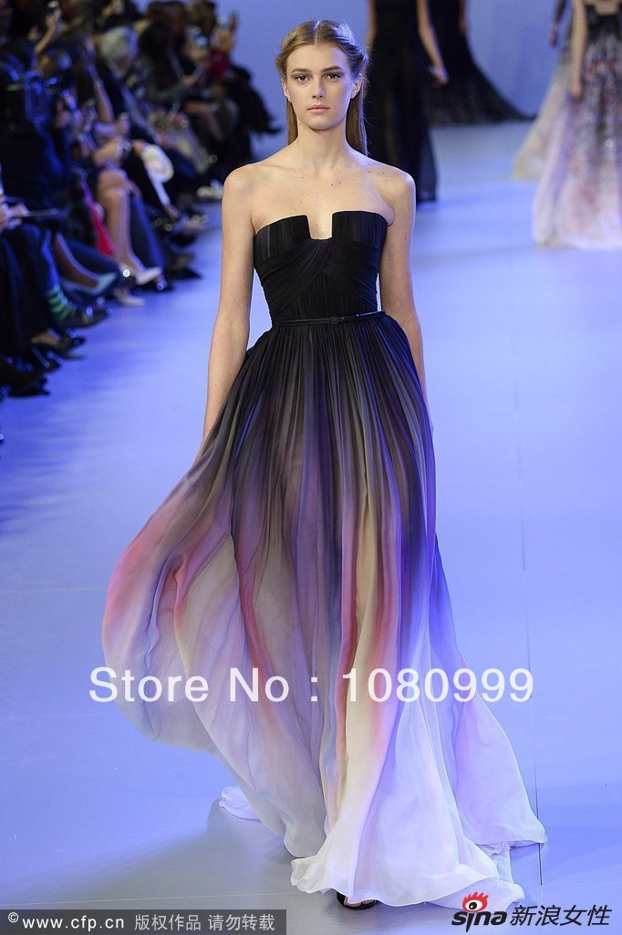 New designer a line scalloped off the shoulder sleeveless floor length chiffon elie saab evening dress 2014