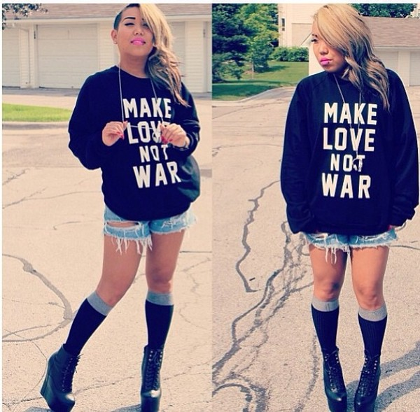 sweater black make love not war