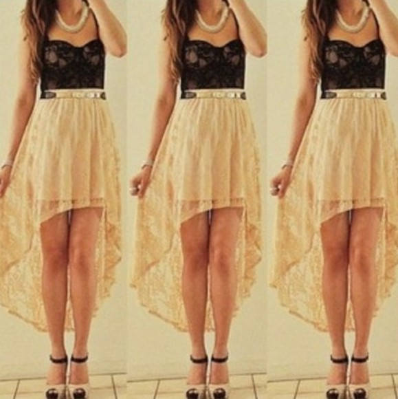 floral clothes high-low skirt high low black tank top lace crochet hi lo gold bustier bralet bralette necklace pumps high heels