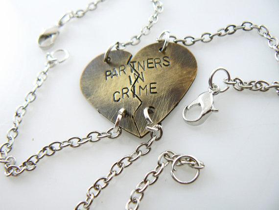 Partner in Crime Heart bracelet hand stamped by StampedWorld