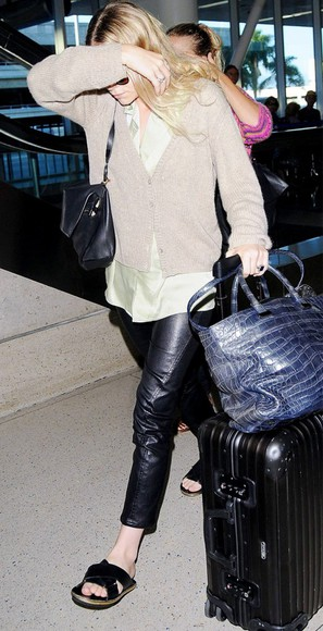 shoes sweater pants leather pants ashley olsen