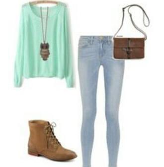 shirt blue brown bag owl necklace jeans combat boots