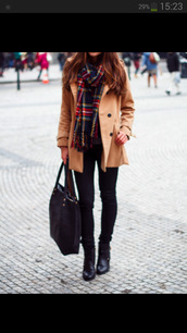 scarf,jacket,trench coat,coat,brown,beige,beige jacket,winter outfits,flannel scarf,pea coat,winter swag,cool,fashion,girly,outfit,nice,tumblr outfit,clothes,checkered,bag,shorts,jeans,home accessory,black,black boots,black jeans,black bag,tumblr,style,camel,winter coat