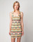Bershka ethnic print dress aztec orange & coral s, m, l