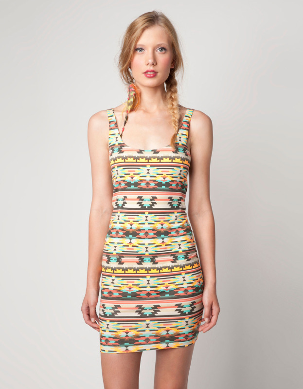 Bershka ethnic print dress aztec orange & coral s, m, l