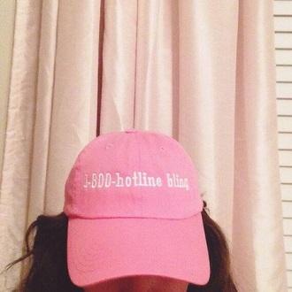 hat 1-800-hotlinebling pink