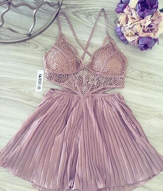 romper sexy pleated pink