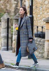 coat,alexa chung,jeans,shoes,plaid,streetstyle