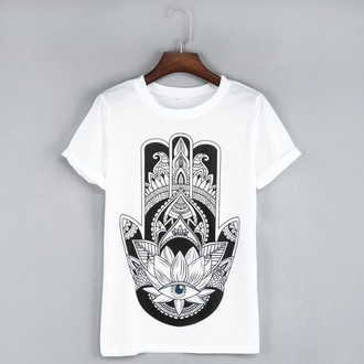 shirt hamsa fashion style black black and white trendy cool casual musheng