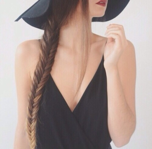 blouse v neck a simple v summer outfits fashion statement hot black tank top felt hat hairstyles hat top low v neck low v-neck v neck black top fishtail braid fedora style fashion girly on point on point clothing style gorgeous classy caraco neckline
