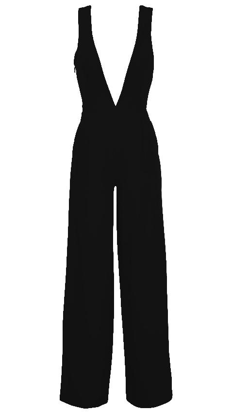 Plunge V Neck Wide Leg Jumpsuit Black