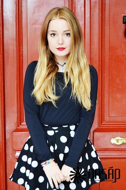 Dotted A-line Skirt - OASAP.com