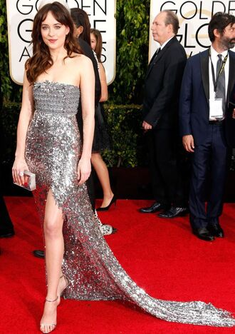 dress dakota johnson silver dress golden globes 2015 chanel