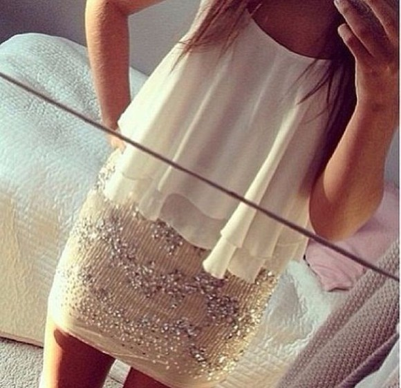 party rhinestone top white silver skirt short tight sequin nude flow outfit blouse