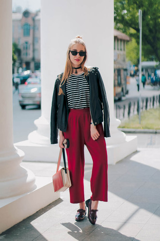 pants wide-leg pants red pants top striped top jacket leather jacket black jacket shoes bag sunglasses black sunglasses loafers
