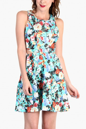 LoveMelrose.com From Harry & Molly | FLORAL PRINT DRESS - Mint