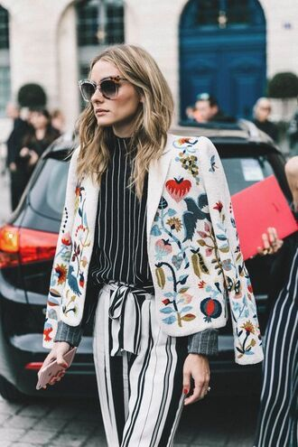jacket tumblr printed jacket embroidered embroidered jacket pants stripes striped pants black top striped top sunglasses olivia palermo heart birds