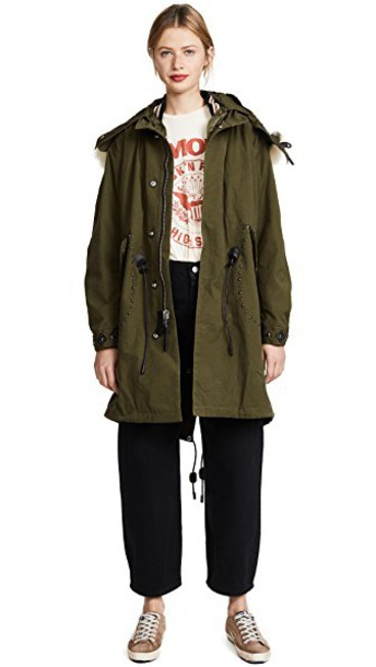 coach parka embellished khaki green coat