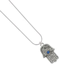 Amazon.com: Hamsa Hand with Blue Swarovski Crystal Silver Plated Snake Chain Charm Necklace: Jewelry