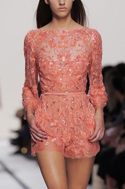 11a022bb6258 dress romper jumpsuit lace dress lace pink lace playsuit romper coral  floral romper embellished