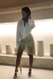 dress,shirt,shirt dress,kourtney kardashian style,kourtney kardashian,instagram,celebrity,sandal heels,sandals,kardashians,fringes
