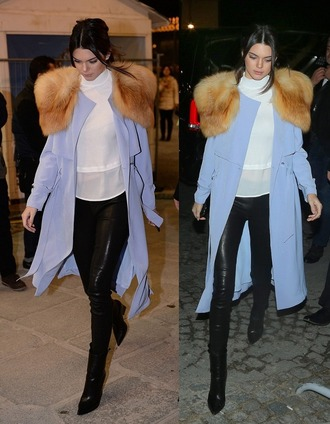 coat fur kendall jenner pants turtleneck blouse
