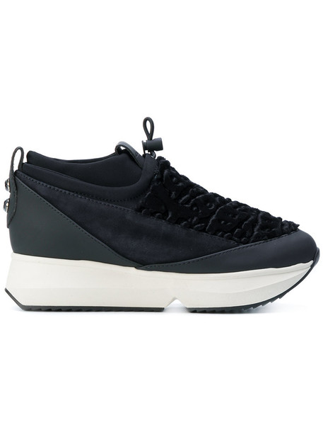 Alexander Smith - platform lace-up sneakers - women - Leather/Suede/Acrylic/rubber - 38, Black, Leather/Suede/Acrylic/rubber